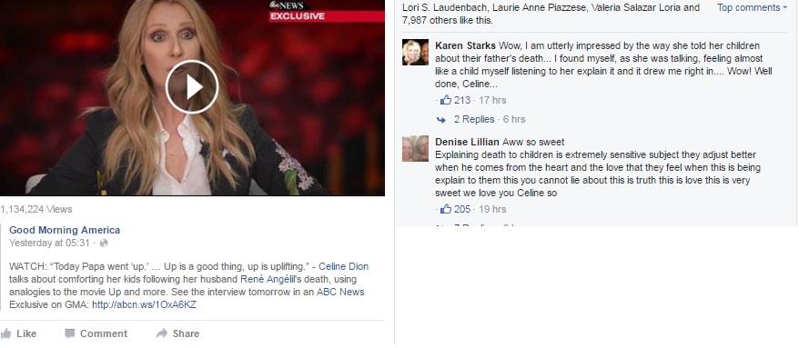 Celine Dion Facebook page- Netmarkers