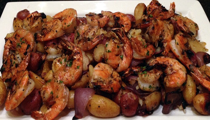 Shrimp with roasted fingerling potatoes-Netmarkers